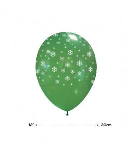 "Palloncini Verdi ""Fiocchi di Neve"" - Ø 30 cm - 50 pezzi"