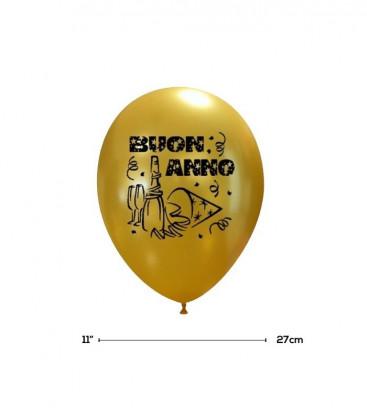 """Palloncini Oro """"Buon Anno"""" - Ø 27 cm - 50 pezzi"""
