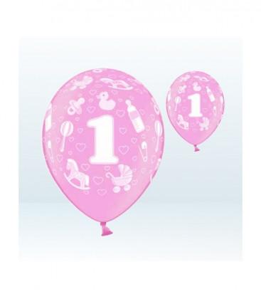 Palloncini 1° compleanno rosa - Ø 30 cm - confezione da 25