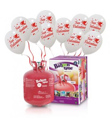Kit Elio LARGE + 30 palloncini bianchi San Valentino - Ø 30 cm