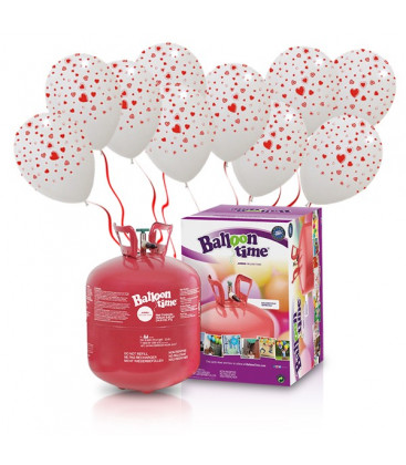 Kit Elio LARGE + 30 palloncini bianchi globo cuori - Ø 30 cm