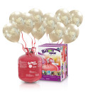 "Kit Elio LARGE + 30 palloncini metal perla ""just married"" biodegradabili - Ø 27 cm"