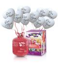 """Kit Elio LARGE + 30 palloncini bianchi Cuori """"Viva gli Sposi"""" - Ø 25 cm"""
