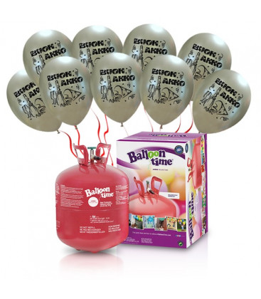 """Kit Elio LARGE + 30 palloncini argento """"Buon Anno"""" - Ø 27 cm"""