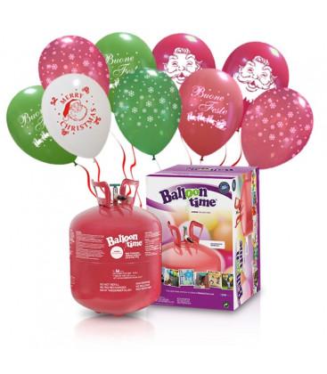 Kit Elio LARGE + 30 palloncini assortiti natalizi - Ø 30 cm