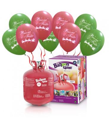 "Kit Elio LARGE + 30 palloncini assortiti ""Buone Feste"" - Ø 30 cm"