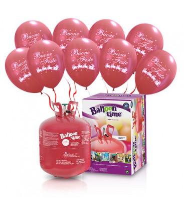 "Kit Elio LARGE + 30 palloncini rossi ""Buone Feste"" - Ø 30 cm"