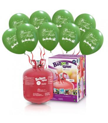 "Kit Elio LARGE + 30 palloncini verdi ""Buone Feste"" - Ø 30 cm"