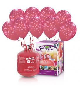 "Kit Elio LARGE + 30 palloncini rossi ""Fiocchi di Neve"" - Ø 30 cm"