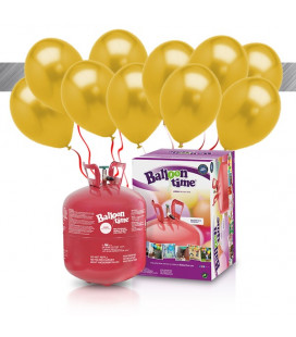 Kit Elio LARGE + 30 palloncini metallizzati oro biodegradabili - Ø 27 cm