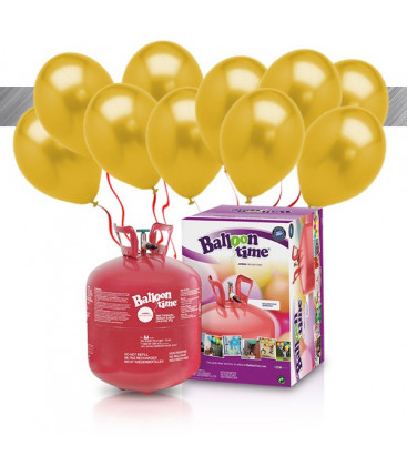 Kit Elio LARGE + 30 palloncini metallizzati oro - Ø 27 cm