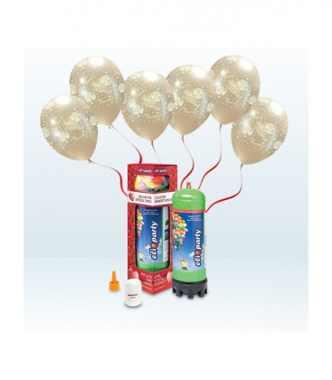 "Kit Elio MEDIUM + 16 palloncini metal perla ""Just Married"" - Ø 27 cm"