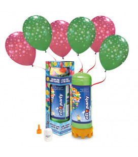 "Kit Elio MEDIUM + 12 palloncini assortiti ""Fiocchi di Neve"" - Ø 30 cm"