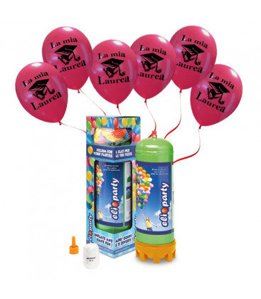 Kit Elio MEDIUM + 12 palloncini La Mia Laurea - Ø 30 cm