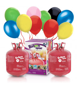 Kit Elio X-LARGE + 100 palloncini assortiti biodegradabili - Ø 23 cm