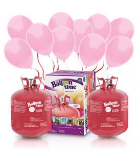 Kit Elio X-LARGE + 100 palloncini rosa - Ø 23 cm