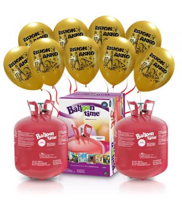 """Kit Elio X-LARGE + 60 palloncini oro """"Buon Anno"""" - Ø 27 cm"""