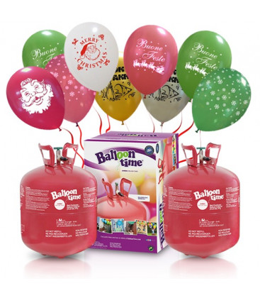 Kit Elio X-LARGE + 60 palloncini assortiti natalizi - Ø 30 cm
