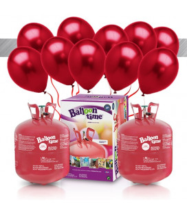 Kit Elio X-LARGE + 60 palloncini metallizzati rossi - Ø 27 cm