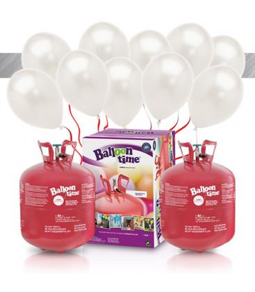 Kit Elio X-LARGE + 60 palloncini metallizzati bianchi - Ø 27 cm