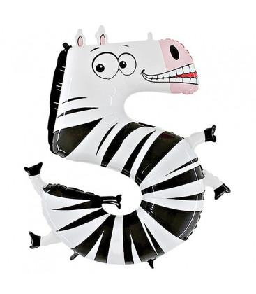 Animaloons Zebra - Numero 5 (cinque) Large - 102 cm