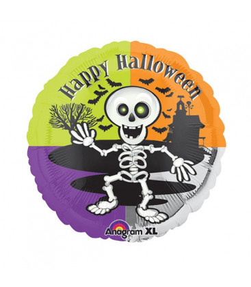 Palloncino scheletro Halloween HeXL® - Ø 46 cm