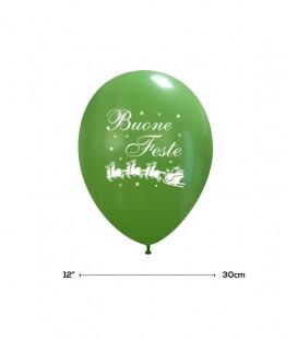 "Palloncini Verdi ""Buone Feste"" - Ø 30 cm - 100 pezzi"