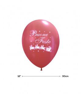 """Palloncini Rossi """"Buone Feste"""" - Ø 30 cm - 100 pezzi"""