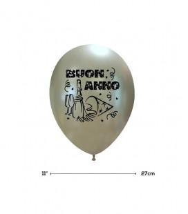 """Palloncini Argento """"Buon Anno"""" - Ø 27 cm - 100 pezzi"""