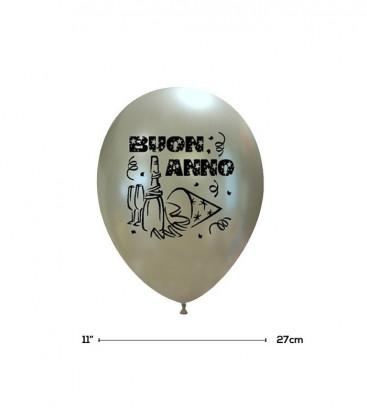 """Palloncini Argento """"Buon Anno"""" - Ø 27 cm - 50 pezzi"""