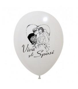 "Palloncini bianchi stampa ""Viva gli sposi"" biodegradabili - Ø 30 cm - 50 pezzi"