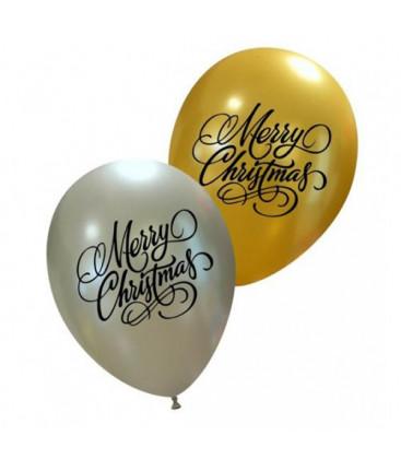 Palloncini natale Merry Christmas - Ø 27 cm - 50 pezzi