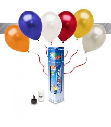 Kit Elio SMALL + 8 palloncini metallizzati assortiti - Ø 27 cm