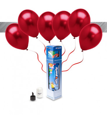 Kit Metallizzato SMALL + 8 palloncini metallizzati rossi - Ø 27 cm