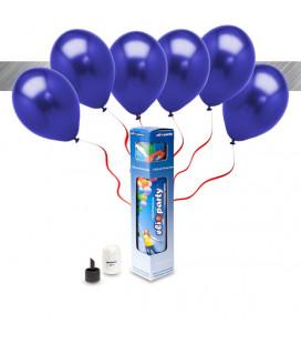 Kit Metallizzato SMALL + 8 palloncini metallizzati blu - Ø 27 cm