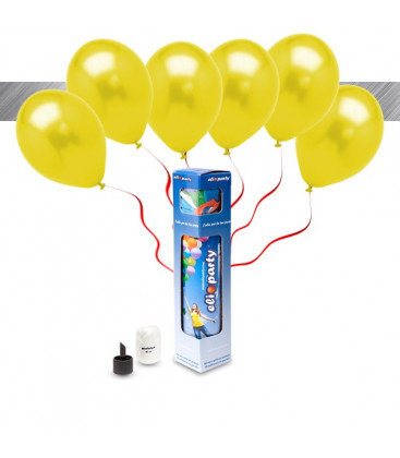Kit Metallizzato SMALL + 8 palloncini metallizzati gialli - Ø 27 cm