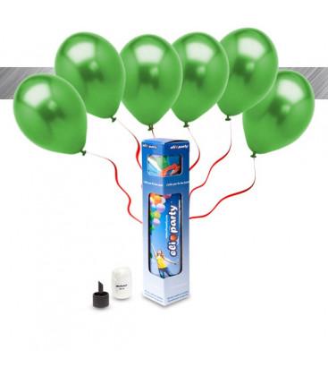 Kit Metallizzato SMALL + 8 palloncini metallizzati verdi - Ø 27 cm