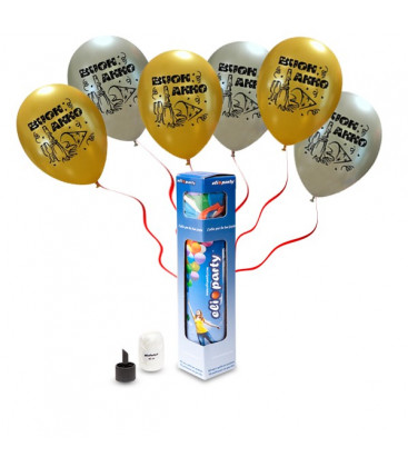 "Kit Elio SMALL + 8 palloncini assortiti ""Buon Anno"" - Ø 27 cm"