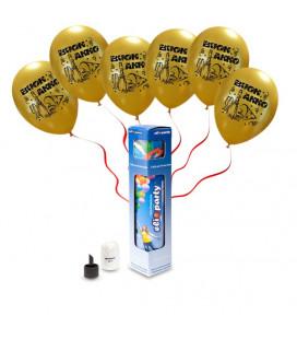 """Kit Elio SMALL + 8 palloncini oro """"Buon Anno"""" - Ø 27 cm"""