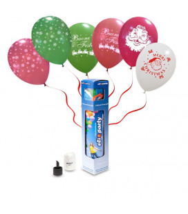 Kit Elio SMALL + 6 palloncini assortiti natalizi - Ø 30 cm