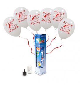 "Kit Elio SMALL + 6 palloncini bianchi ""Merry Christmas"" - Ø 30 cm"