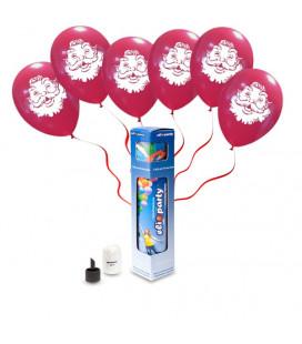 Kit Elio SMALL + 6 palloncini rossi Babbo Natale- Ø 30 cm