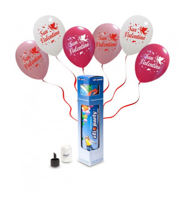 Kit Elio SMALL + 5 palloncini assortiti San Valentino - Ø 30 cm