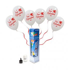 Kit Elio SMALL + 5 palloncini bianchi San Valentino - Ø 30 cm