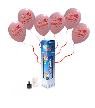 Kit Elio SMALL + 5 palloncini rosa San Valentino - Ø 30 cm