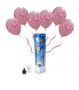 Kit Elio SMALL + 5 palloncini rosa stampa fascia cuori - Ø 30 cm