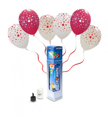 Kit Elio SMALL + 5 palloncini assortiti stampa Cuori - Ø 30 cm