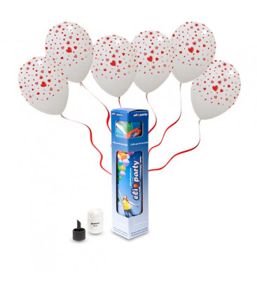 Kit Elio SMALL + 5 palloncini bianchi stampa Cuori - Ø 30 cm