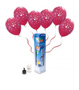 Kit Elio SMALL + 5 palloncini rossi stampa Cuori - Ø 30 cm
