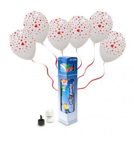 Kit Elio SMALL + 5 palloncini trasparenti stampa Cuori - Ø 30 cm